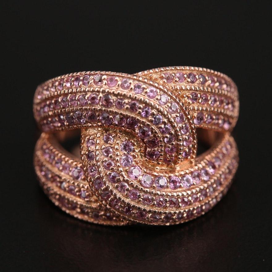 Sterling Silver Sapphire Interlocking Ring