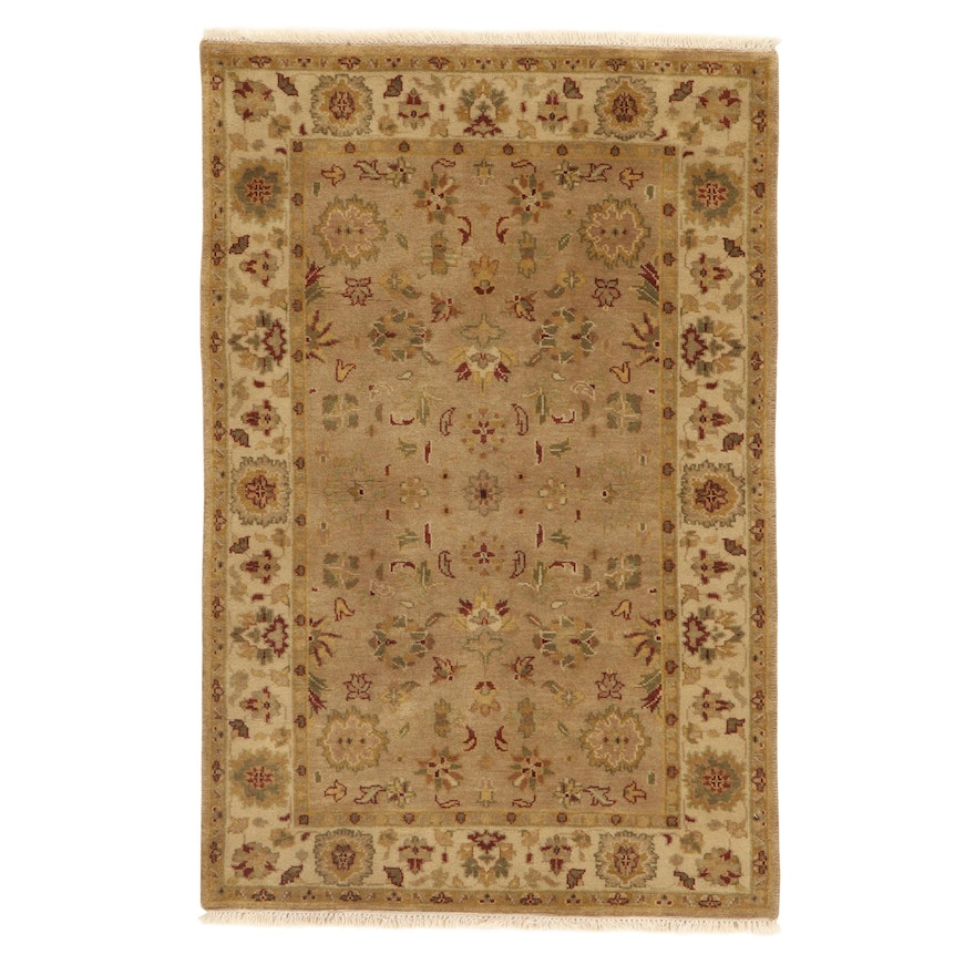 3'11 x 6'2 Hand-Knotted Indo-Turkish Oushak Rug, 2010s