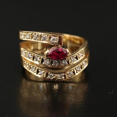 18K Ruby and Diamond Multi Row Ring