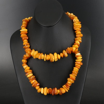 Mutton Fat Amber Bead Necklace