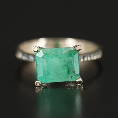 14K Emerald Ring with Sapphires and Diamonds