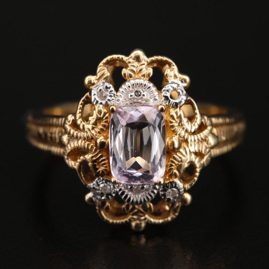 Vintage Style 10K Kunzite and Diamond Openwork Ring