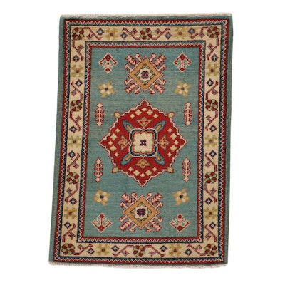 2'3 x 3' Hand-Knotted Afghan Caucasian Kazak Rug, 2010s
