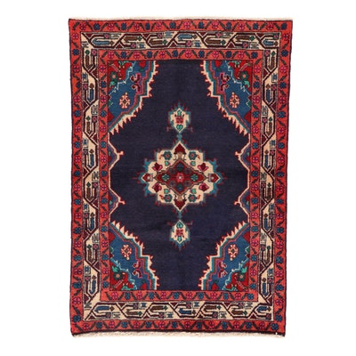 3'3 x 4'9 Hand-Knotted Persian Malayer Rug, 1950s