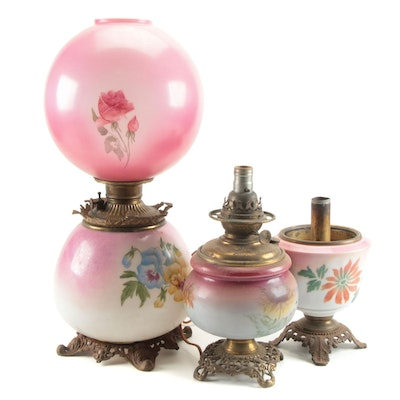 Pink and White Milk Glass  Electric, Kerosene, and Oil Lamps