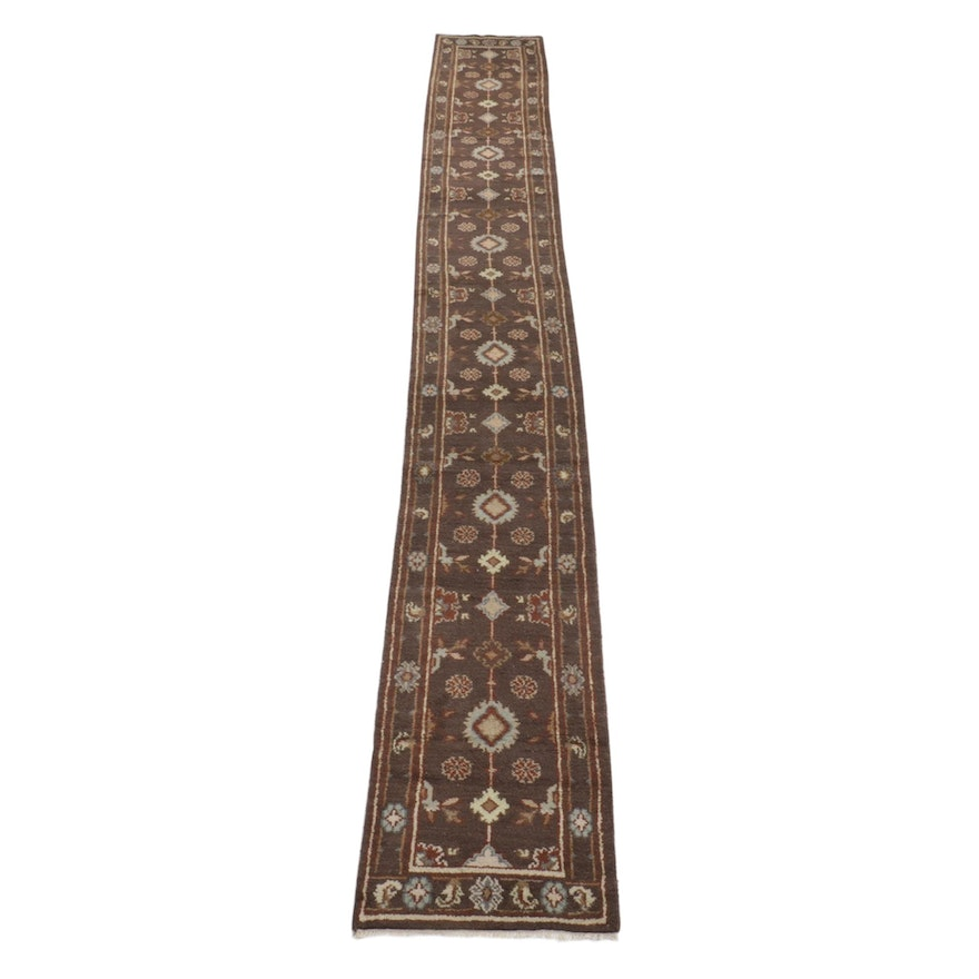 2'7 x 21'9 Hand-Knotted Indo-Turkish Oushak Carpet Runner, 2010s