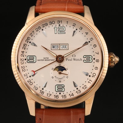 Paul Watch Triple Calendar Rose Gold Tone Automatic Wristwatch