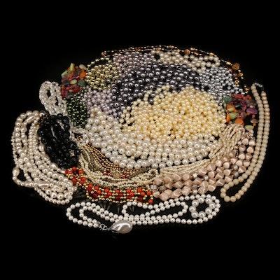 Costume Necklaces Including Garnet and Gemstones