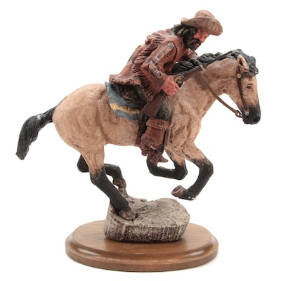 Daniel Monfort Plaster Sculpture of a Bronco Rider With Rifle
