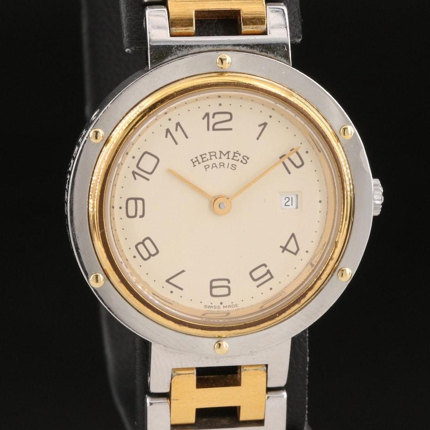 Hermès Clipper Two - Tone Quartz Wristwatch