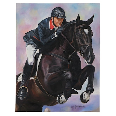 Walter Hill Oil Painting of a Horse and Rider