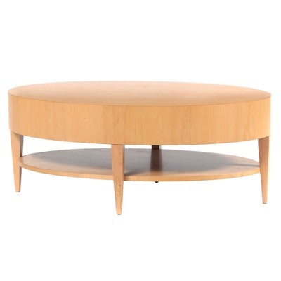 Modernist Birch Two-Tier Oval Cocktail Table, 1980s