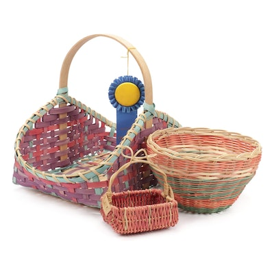 Trio Of Handwoven and Dyed Wood Baskets