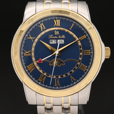 Louis Bolle Triple Calendar Two-Tone Stainless Steel Automatic Wristwatch