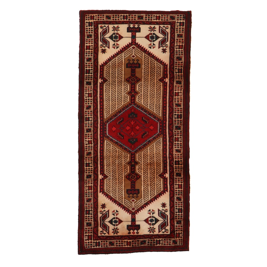 3'3 x 7' Hand-Knotted Persian Serab Rug, 1950s