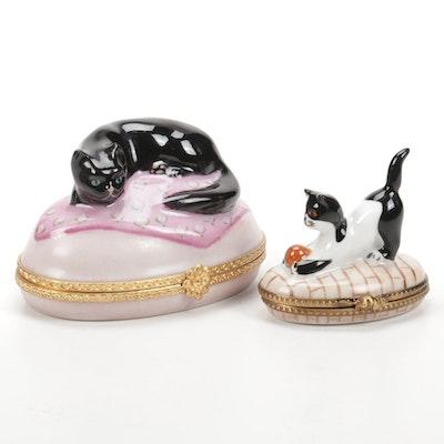 Hand-Painted Cat Form Limoges Porcelain Boxes