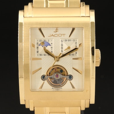 Jacot Open Heart Gold Tone Stainless Steel Automatic Wristwatch