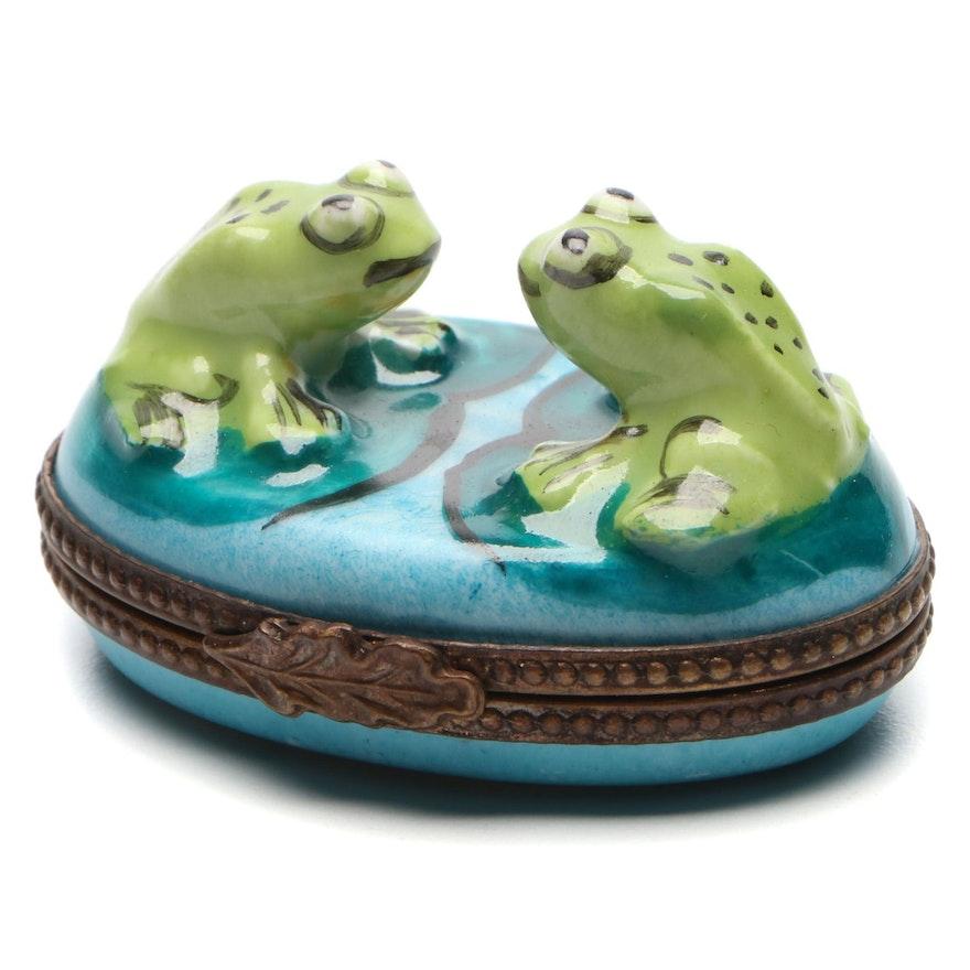 Hand-Painted Frog Limoges Porcelain Box