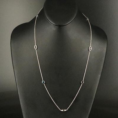 Sterling London Blue Topaz and Diamond Station Necklace