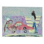 "Eduardo Oliva Acrylic Painting ""Taxi Aeropuerto,"" 1989"