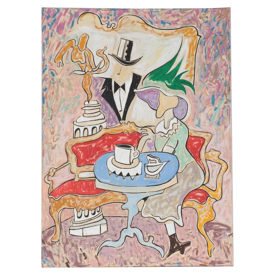 "Eduardo Oliva Acrylic Painting ""Sofa Rojo,"" 1989"