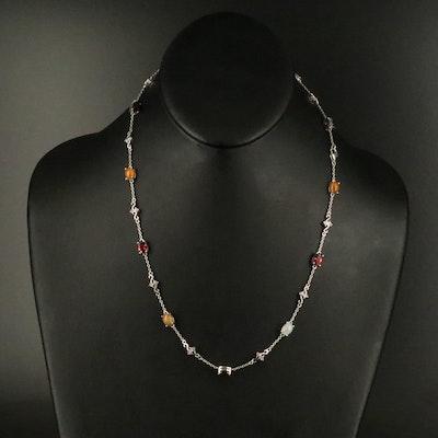 Sterling Opal, Garnet and Diamond Station Necklace