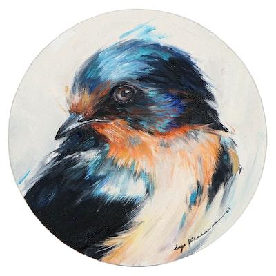 Inga Khanarina Oil Painting of a Bluebird, 2021