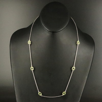 Sterling Peridot Station Necklace