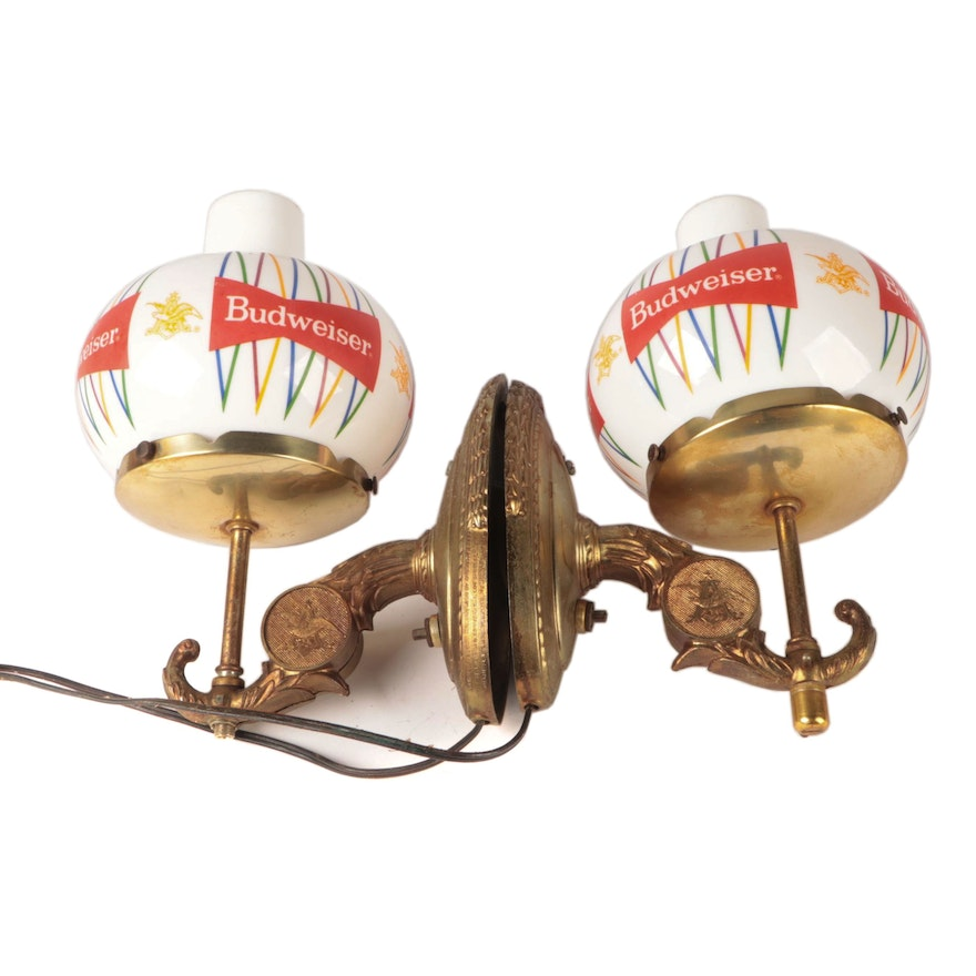 Budweiser Wall Sconce Metal Lights with Glass Shades, Mid-20th Century