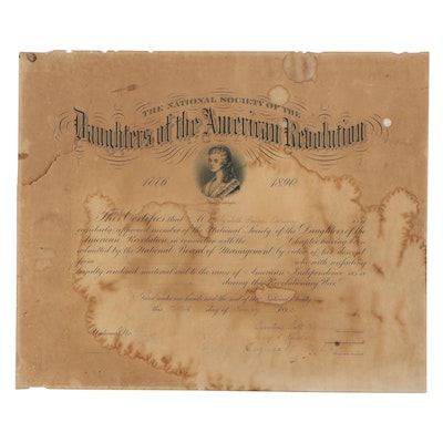 National Society of the Daughters of the American Revolution Certificate, 1892