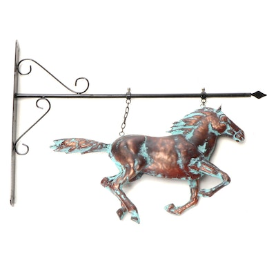 Verdigris Patinated Copper Galloping Horse with Scroll Metal Bracket