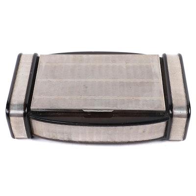 Italian Art Deco Guilloche Sterling Silver Jewelry Box