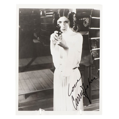 """Carrie Fisher Signed """"Princess Leia, Star Wars"""" Movie Photo Print"""