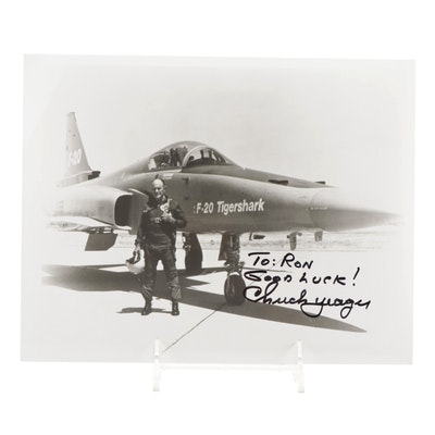 """Chuck Yeager Signed """"Good Luck"""" United States Military Test Pilot Photo Print"""