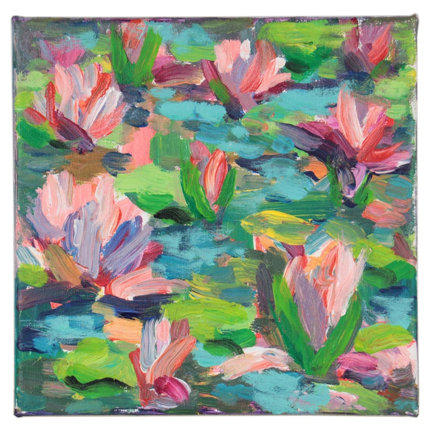 Amelia Colne Acrylic Painting of Water Lilies