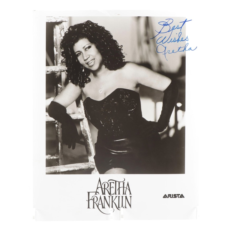 """Aretha Franklin """"The Queen of Soul"""" Signed  Arista Records Publicity Photo Print"""