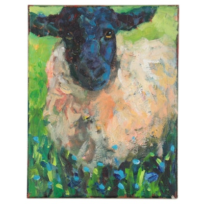 Elle Raines Acrylic Painting of a Sheep, 21st Century