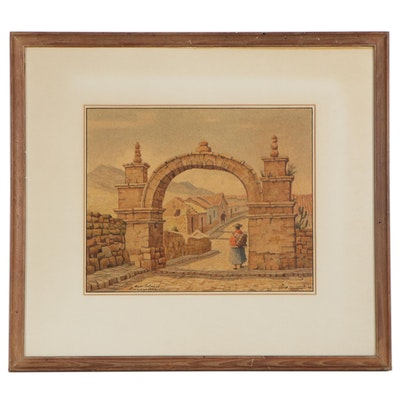 """Carlos Dreyer Peruvian Monument Watercolor Painting """"Arco Colonial,"""" 1942"""