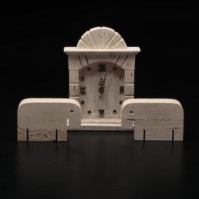 Carved Limestone Shelf Clock with Elephant Bookends