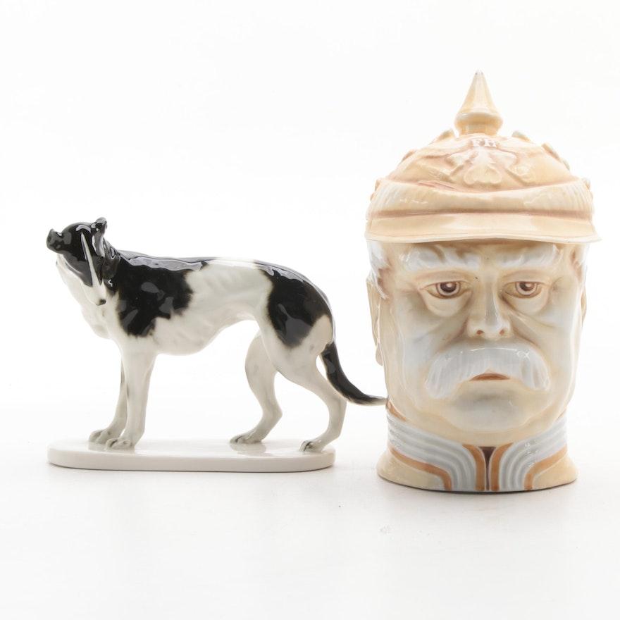 Volkstedt Porcelain Borzoi Figurine with Musterschutz Otto von Bismarck Stein