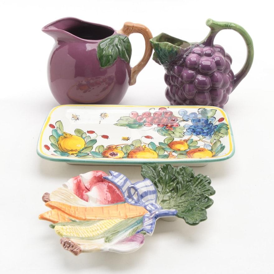 Grape and Plum Figural Ceramic Pitchers and Fruit and Veggie Motif Trays