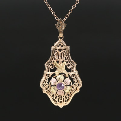 10K Amethyst Filigree Pendant Necklace with Floral Accent