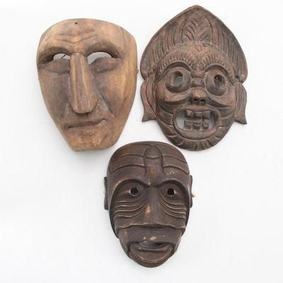 "Mah Meri Style ""Moyang Kuhau"" Mask, Thai Wood Mask, and Mexican Wood Mask"