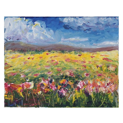 """Mia Wyle Landscape Acrylic Painting """"Field of Flowers,"""" 21st Century"""