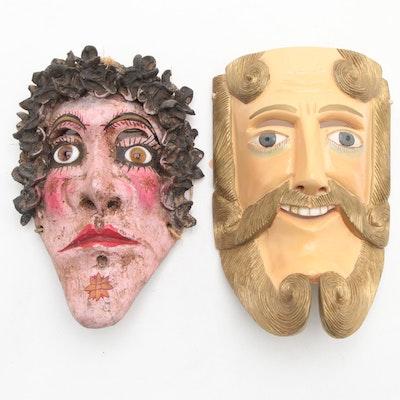 """Mexican """"Pedro de Alvarado"""" Mask and Female Mask"""