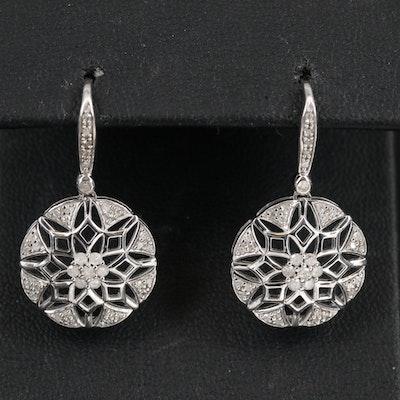 Sterling Silver Diamond Snowflake Earrings