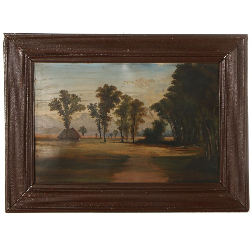 Landscape Oil Painting of Trees and Cottage, Early 20th Century