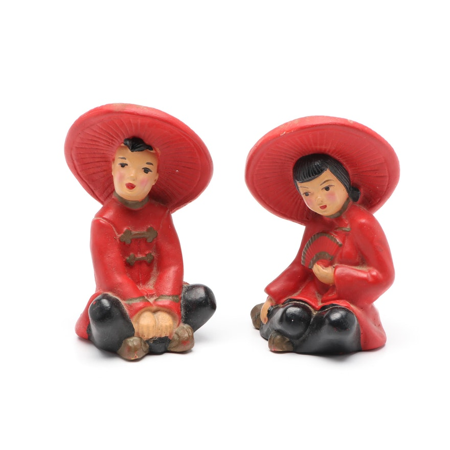 East Asian Boy and Girl Painted Plaster Figurines, Mid-20th Century