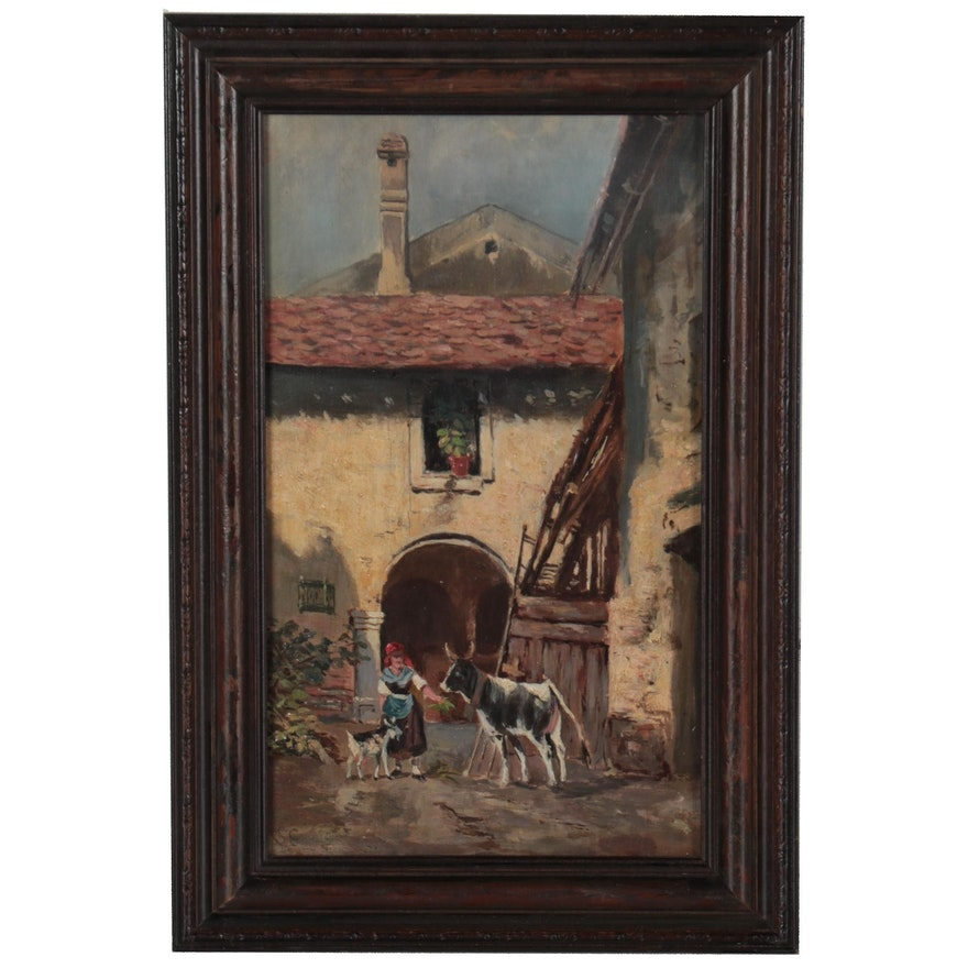 Genre Scene Oil Painting of a Woman With Cattle, Early 20th Century