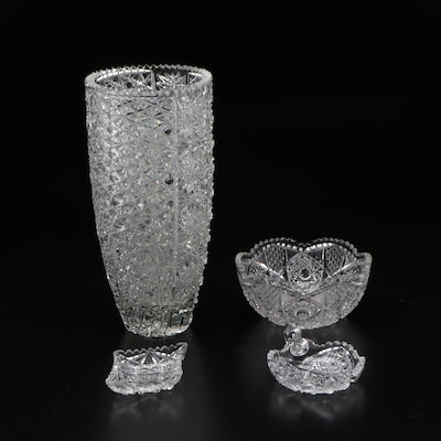 American Brilliant Style Cut Glass Vase, Bowl, and Ashtrays